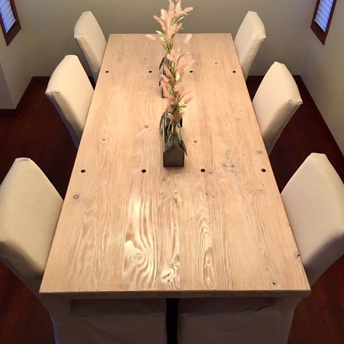 Distressed Pine and Steel Table